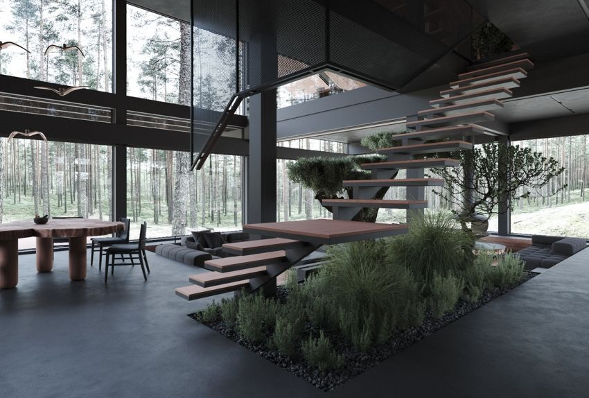 Steel glass house in the forest - Interior Design Ideas