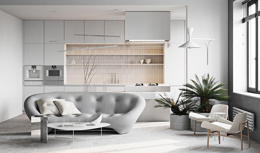 Gray gray flat for one person - Interior Design Ideas