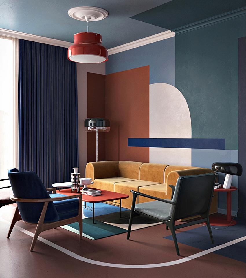 Apartment contrast art, colorful - Interior Design Ideas