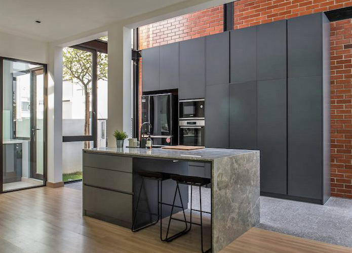 Expand the house space with red brick steel frame - Interior Design Ideas
