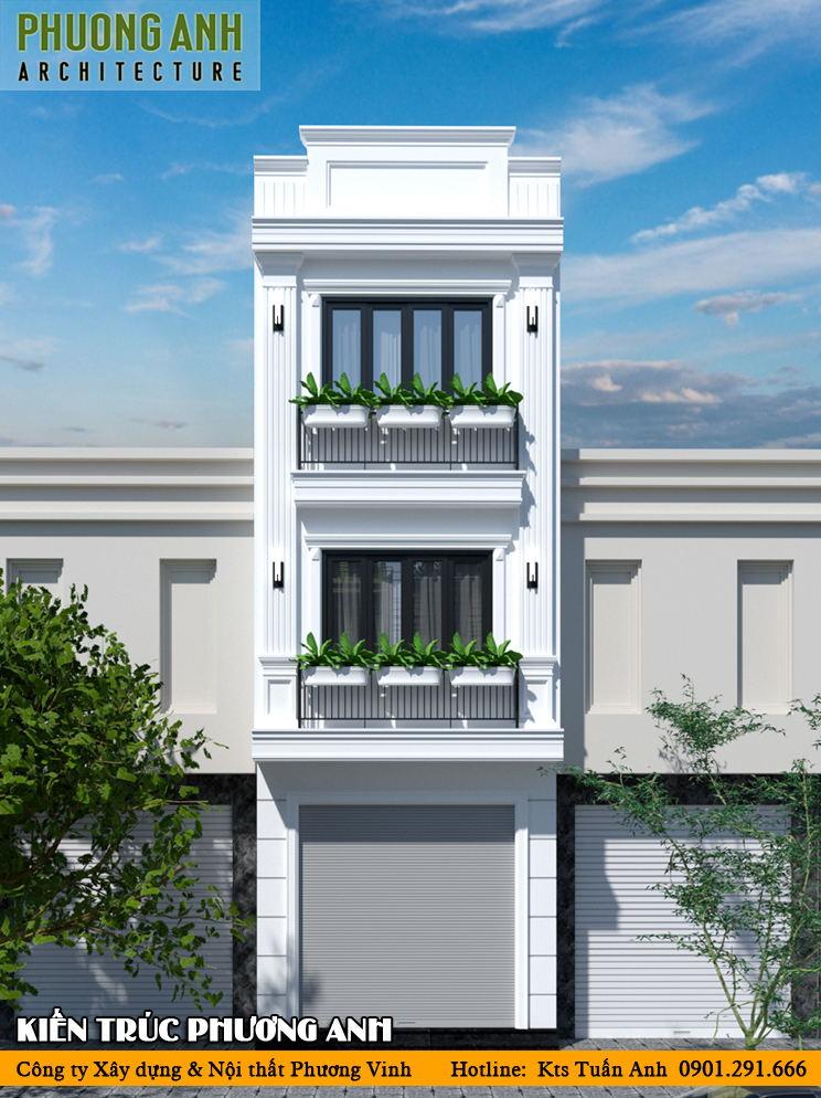 Mặt tiền nhà ống 3 tầng đẹp 2021 - Xây nhà trọn gói Hải Phòng