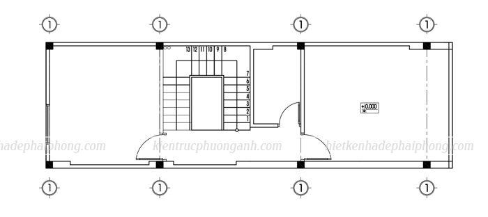 Bản vẽ mặt bằng tầng 2 mẫu nhà ống 3 tầng đẹp