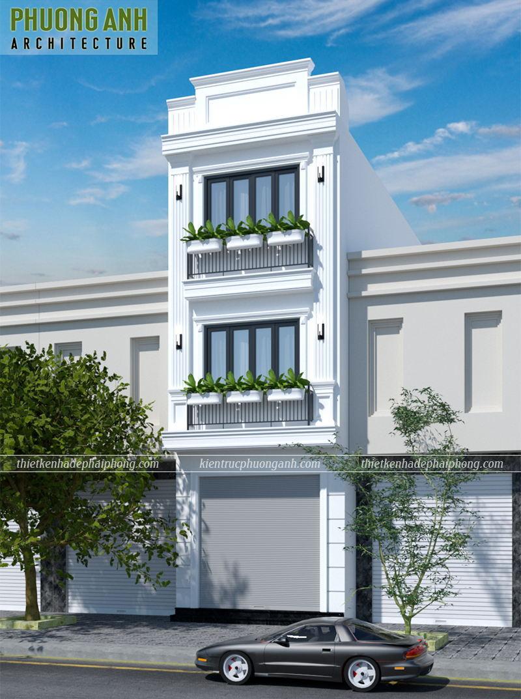 Mặt tiền nhà ống 3 tầng đẹp 2021 - Kiến trúc Phương Anh