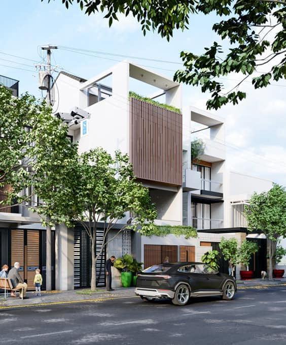 Phối cảnh mặt tiền nhà phố 5m đẹp hiện đại