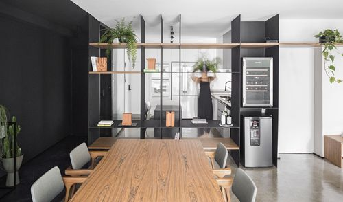 Modern apartment with black iron frame