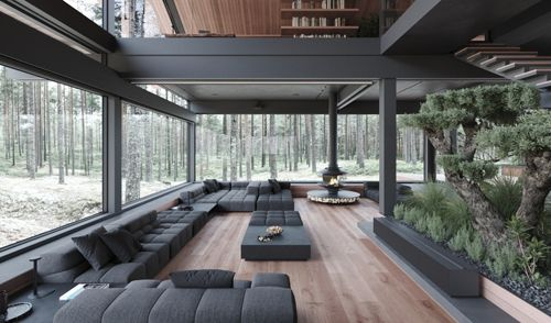 Steel glass house in the forest