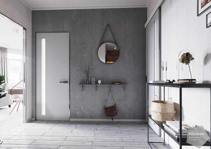 Gray walls with hollow shelves, long mirrors and door frames