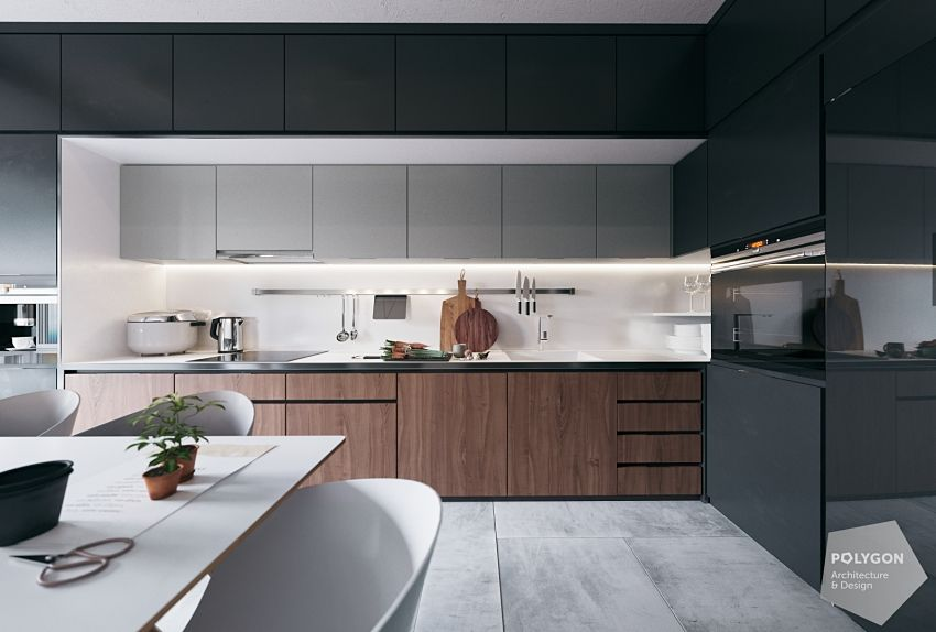 The kitchen create a single vision simple and orderly.